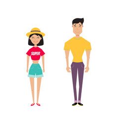 hipster couple vector image vector image
