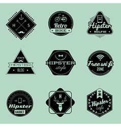 hipster emblems green vector image