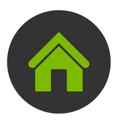 Home flat eco green and gray colors round button vector image