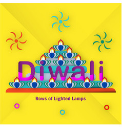 invitation card for diwali festival of hindu vector image