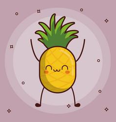 Kawaii fruit icon vector