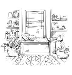 Line interior sketch a cozy window seat vector