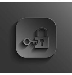 Lock icon - black app button vector
