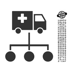 Medical delivery links icon with people bonus vector