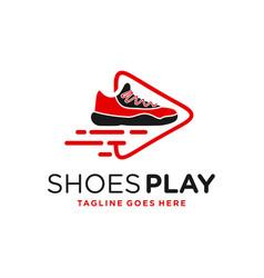 Modern shoe game logo vector