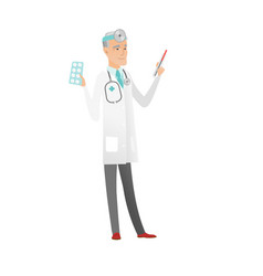 otolaryngologist holding thermometer and pills vector image