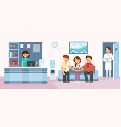 Patients in hospital reception flat vector