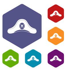 Pirate hat icons set hexagon vector