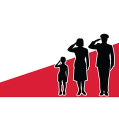 Poland soldier family salute vector image