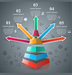 pyramid 3d digital infographic vector image
