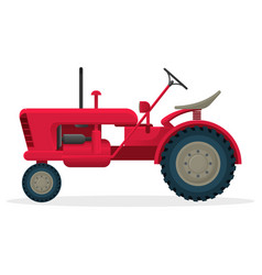 Red agricultural tractor on huge wheels for field vector