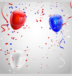 Red white blue balloons confetti concept design vector