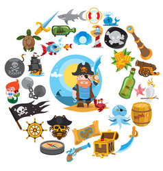 Round composition pirate theme pirate history vector