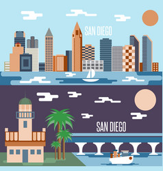 San diego landmarks horizontal flat design banners vector