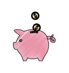 Save coins money inside pig vector