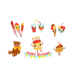set attributes for celebrating a birthday vector image