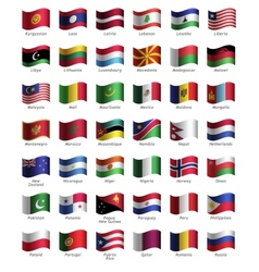 set buttons with flags vector image