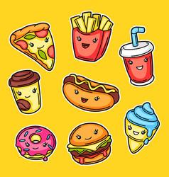 Set cute kawaii fast food meal vector