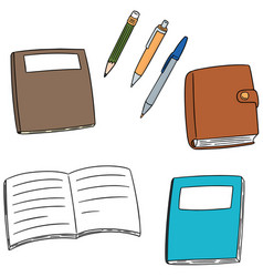 set of notebook pen and pencil vector image