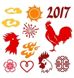 Set of symbols 2017 by Chinese calendar vector image