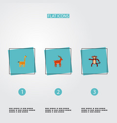 set of zoo icons flat style symbols with giraffe vector image