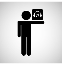 Silhouette man icon music social network vector
