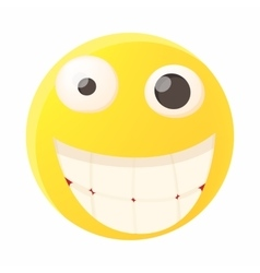 Smiling emoticon with white teeth icon vector