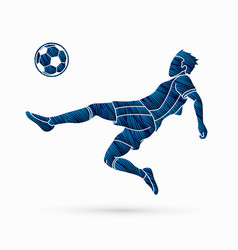 Soccer player hit ball bicycle kick graphic vector