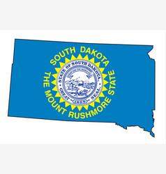 South dakota outline map and flag vector