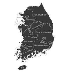 south korea labelled black vector image