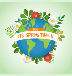 spring time green planet earth greeting card vector image