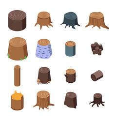 Stumps tree icons set isometric style vector