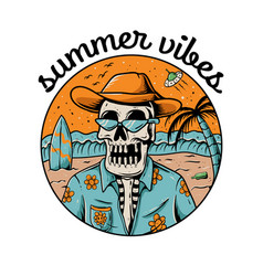 Summer vibes skull vector