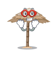 Super hero character tropical sand beach shelter vector