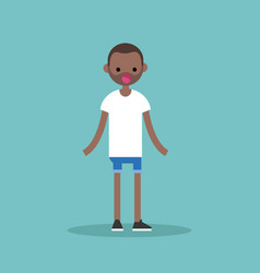 Surprised young black man standing with open vector