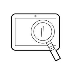 tablet device with magnifying glass vector image
