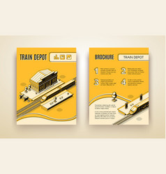 train depot isometric brochure template vector image