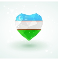 Uzbekistan flag in shape diamond glass heart vector