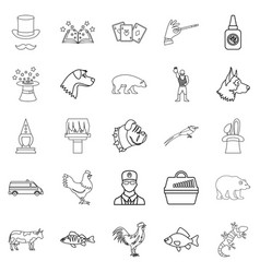 veterinarian icons set outline style vector image