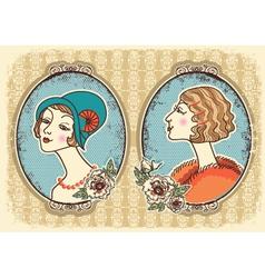 Vintage victorian portrait frames vector image
