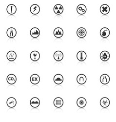 Warning sign icons with reflect on white vector image