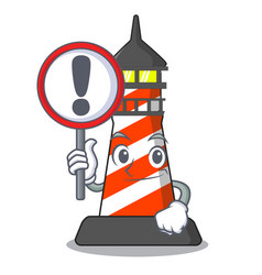 with sign lighthouse character cartoon style vector image