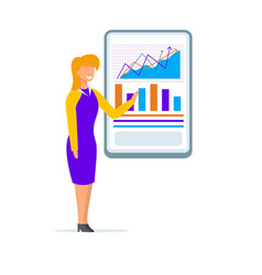 woman coacher wearing presenting graphs on screen vector image