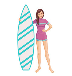Young beautiful woman in swimsuit with surfboard vector
