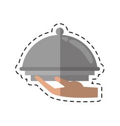 cartoon hand tray catering service vector image