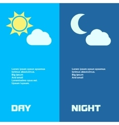 Day and night banners isolated with sun moon in vector