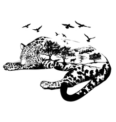 Double exposure Hand drawn jaguar vector image vector image