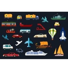 Flat icons with road water rail air transport vector image vector image
