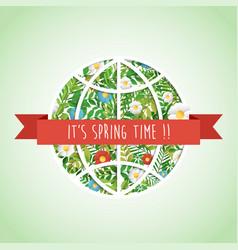Green planet earth paper cut art spring card vector