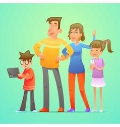 Happy family characters set cartoon design vector image vector image